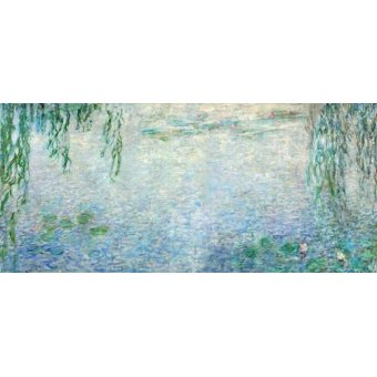 - Cuadro -Waterlilies, Morning with Weeping Willows, (central section)- - Monet, Claude