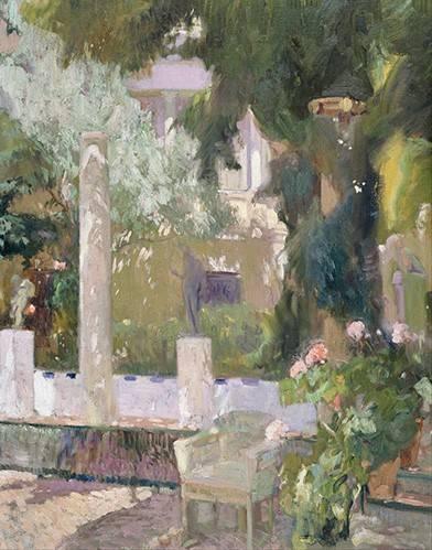 cuadros-de-paisajes - Cuadro -Los jardines de la casa familiar, 1920- - Sorolla, Joaquin