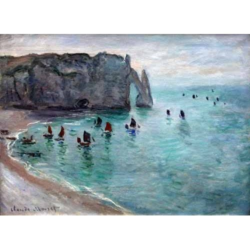 cuadros de marinas - Cuadro -Etretat the Aval door fishing boats leaving the harbour, 1819-