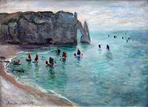 cuadros-de-marinas - Cuadro -Etretat the Aval door fishing boats leaving the harbour, 1819- - Monet, Claude