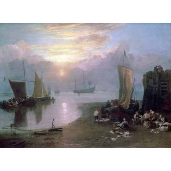 cuadros de marinas - Cuadro -Sun Rising Through Vapour Fishermen Cleaning and Selling Fish, - Turner, Joseph M. William