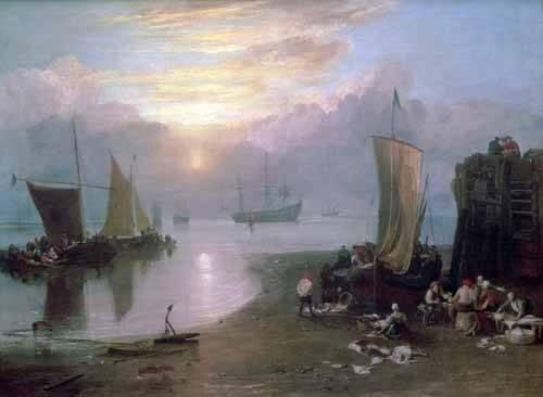 cuadros-de-marinas - Cuadro -Sun Rising Through Vapour Fishermen Cleaning and Selling Fish, - Turner, Joseph M. William