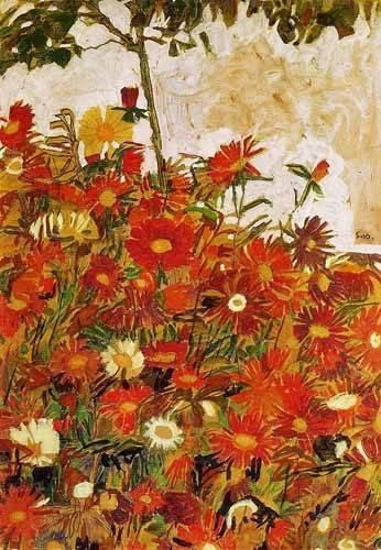 cuadros-decorativos - Cuadro -Campo de flores- - Schiele, Egon