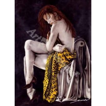 cuadros de desnudos - Cuadro -Chica Leopardo- - Miranda, Nieves
