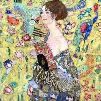 cuadros de retrato - Cuadro -Mujer con abanico, 1918- - Klimt, Gustav