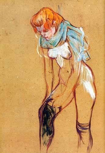cuadros-decorativos - Cuadro -Mujer quitándose las medias- - Toulouse-Lautrec, Henri de