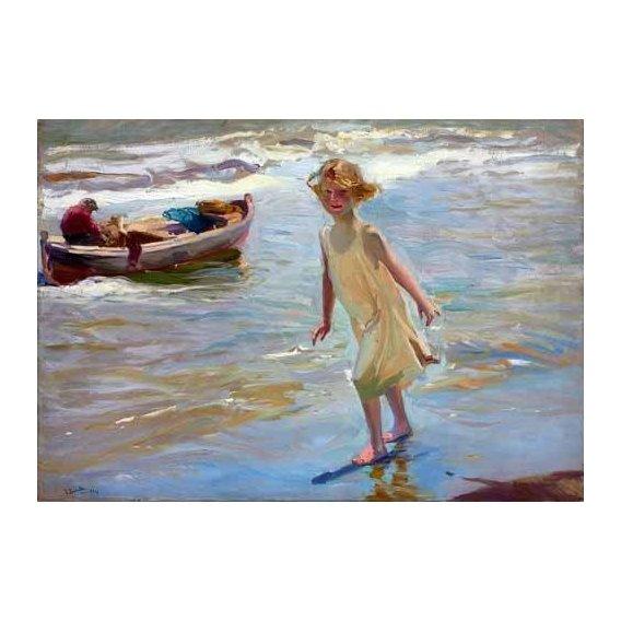 cuadros de retrato - Cuadro -Niña caminando por la playa-
