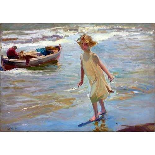 Cuadro -Niña caminando por la playa-