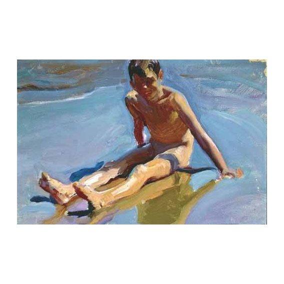cuadros de retrato - Cuadro -Niño en la playa-