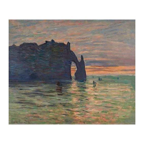 cuadros de marinas - Cuadro -Puesta de sol en Etretat, 1883-