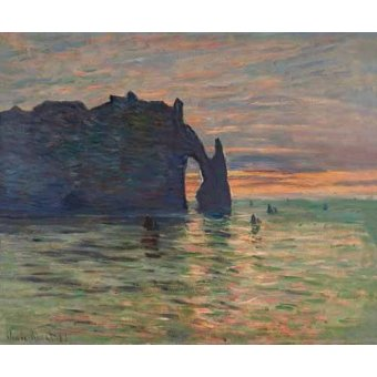 cuadros de marinas - Cuadro -Puesta de sol en Etretat, 1883- - Monet, Claude