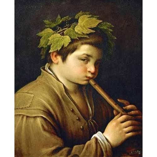 cuadros de retrato - Cuadro -Boy with flute-