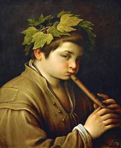 cuadros-de-retrato - Cuadro -Boy with flute- - Bassano, Jacopo da Ponte