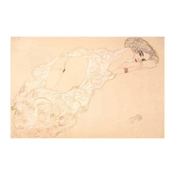 cuadros de desnudos - Cuadro -Reclining Nude Lying on Her Stomach and Facing Right, 1910-