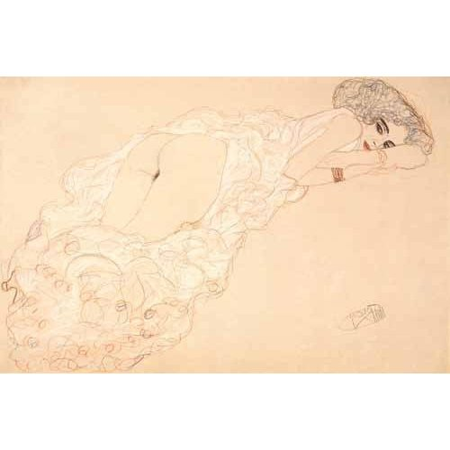 Cuadro -Reclining Nude Lying on Her Stomach and Facing Right, 1910-