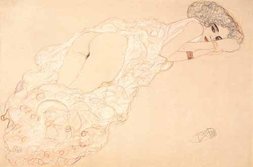 cuadros-de-desnudos - Cuadro -Reclining Nude Lying on Her Stomach and Facing Right, 1910- - Klimt, Gustav