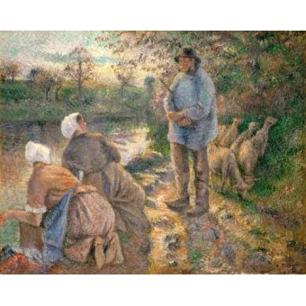 cuadros de retrato - Cuadro -Le Berger et les Laveuses, 1881- - Pissarro, Camille