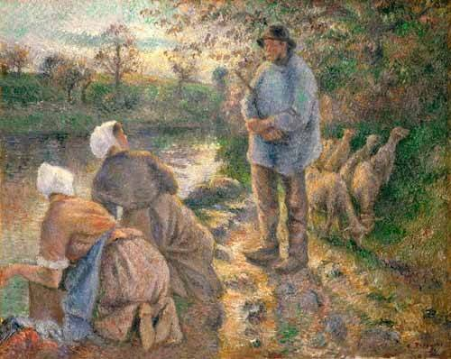 cuadros-de-retrato - Cuadro -Le Berger et les Laveuses, 1881- - Pissarro, Camille