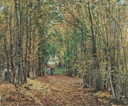 cuadros-de-paisajes - Cuadro -Paisaje en el bosque, 1871- - Pissarro, Camille