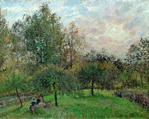 cuadros-de-paisajes - Cuadro -Pommiers et peupliers au soleil couchant, 1901- - Pissarro, Camille
