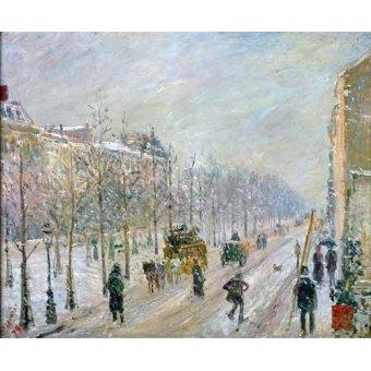 cuadros impresionistas - Cuadro -Les Boulevards exterieurs,effet de neige, 1879- - Pissarro, Camille