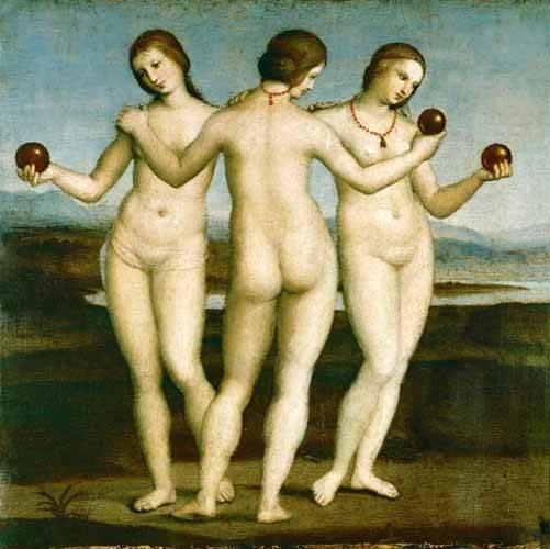 cuadros-de-desnudos - Cuadro -Las Tres Gracias- - Rafael, Sanzio da Urbino Raffael