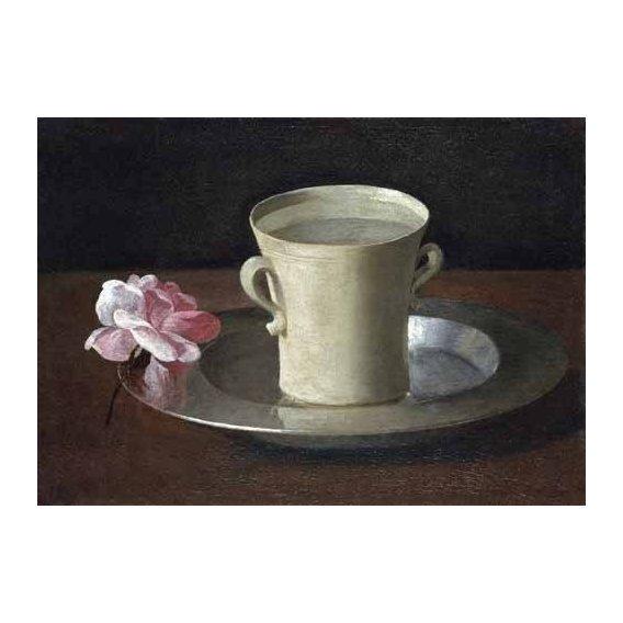cuadros de bodegones - Cuadro -Bodegon, Taza sobre bandeja de plata-