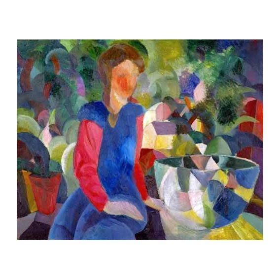 cuadros de retrato - Cuadro -Jovencita con pecera-