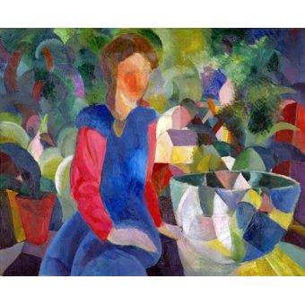 cuadros de retrato - Cuadro -Jovencita con pecera- - Macke, August