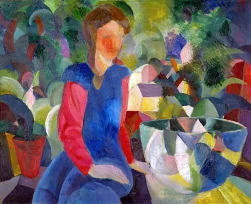 cuadros-de-retrato - Cuadro -Jovencita con pecera- - Macke, August