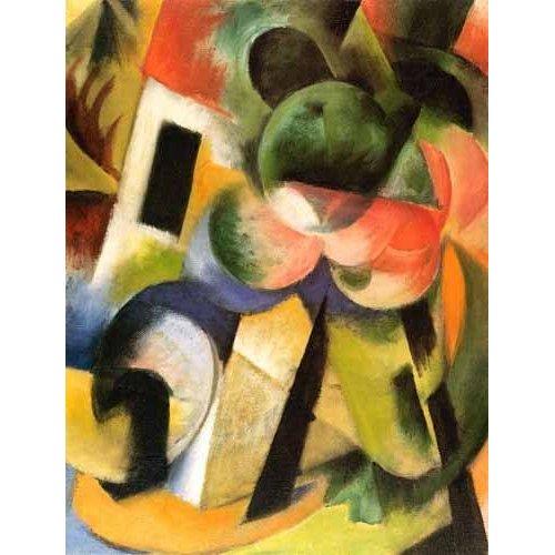 cuadros abstractos - Cuadro -Kleine Komposition-II (haus-mit-baeumen)-