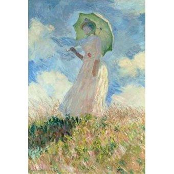cuadros de retrato - Cuadro -Estudio de mujer con parasol girada a la izquierda, 1886- - Monet, Claude
