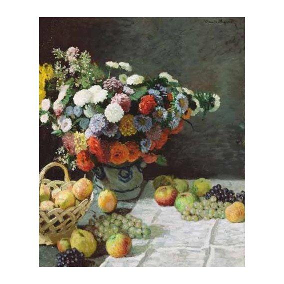 cuadros de bodegones - Cuadro -Flores y Frutas, 1869-