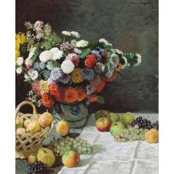 - Cuadro -Flores y Frutas, 1869- - Monet, Claude