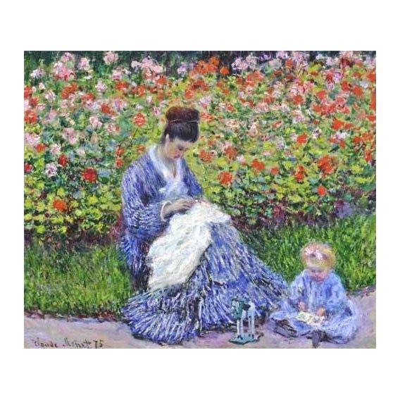 cuadros de retrato - Cuadro -Camille Monet con un bebe en el jardin, 1875-