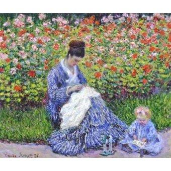 Cuadro -Camille Monet con un bebe en el jardin, 1875- - Monet, Claude