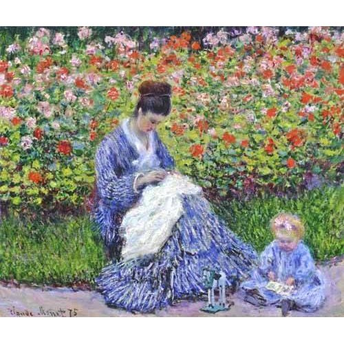 Cuadro -Camille Monet con un bebe en el jardin, 1875-