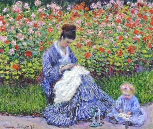 cuadros-de-retrato - Cuadro -Camille Monet con un bebe en el jardin, 1875- - Monet, Claude