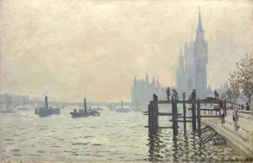 cuadros-de-paisajes - Cuadro -El Tamesis y Westminster, 1871- - Monet, Claude