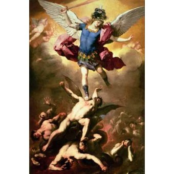 cuadros religiosos - Cuadro -The Archangel Michael hurls the rebellious angels into the abys - Giordano, Luca (Lucas Jordan)