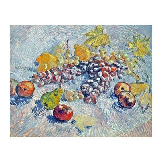 cuadros de bodegones - Cuadro -Grapes, Lemons, Pears, and Apples, 1887-