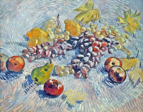 cuadros-de-bodegones - Cuadro -Grapes, Lemons, Pears, and Apples, 1887- - Van Gogh, Vincent