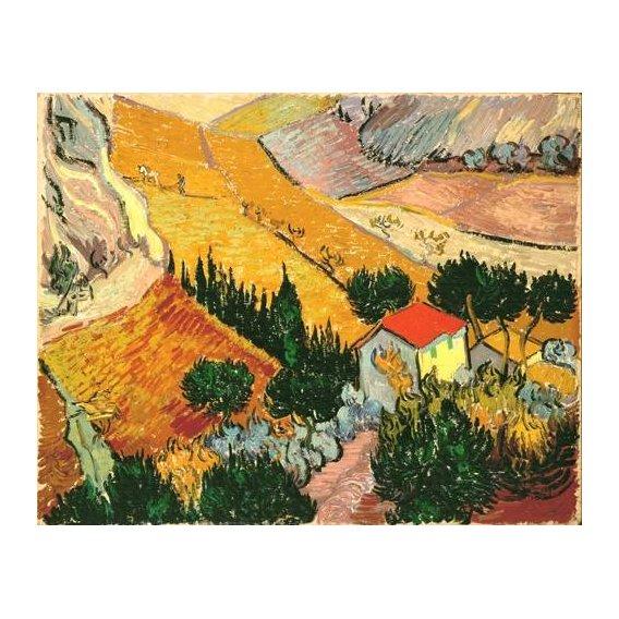cuadros de paisajes - Cuadro -Landscape with House and Ploughman, 1889-