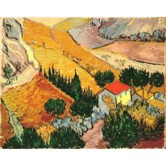 Cuadro -Landscape with House and Ploughman, 1889-
