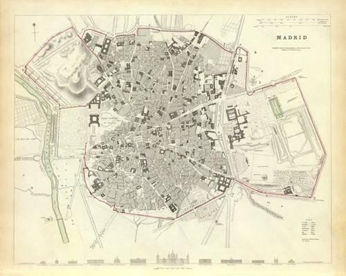cuadros-de-mapas-grabados-y-acuarelas - Cuadro -Madrid 1831- - Mapas antiguos - Anciennes cartes