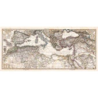 - Cuadro -Mar Mediterraneo y Norte de Africa (1875)- - Mapas antiguos - Anciennes cartes