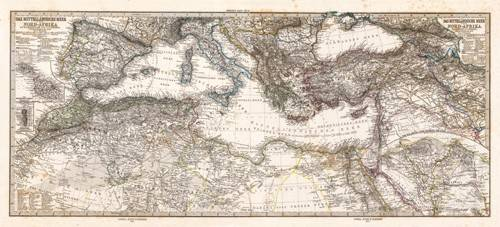 cuadros-de-mapas-grabados-y-acuarelas - Cuadro -Mar Mediterraneo y Norte de Africa (1875)- - Mapas antiguos - Anciennes cartes