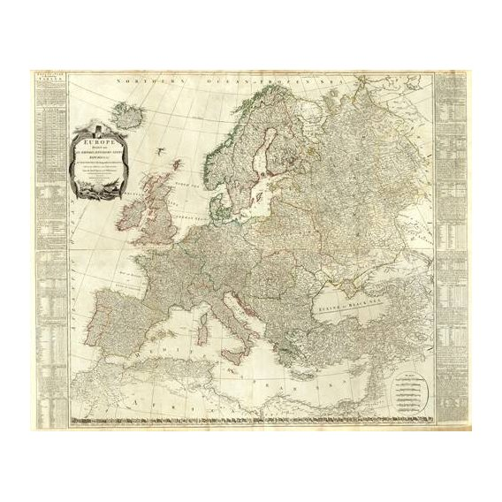 cuadros de mapas, grabados y acuarelas - Cuadro -Europa (1787)-