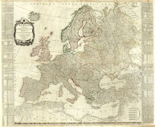 cuadros-de-mapas-grabados-y-acuarelas - Cuadro -Europa (1787)- - Mapas antiguos - Anciennes cartes