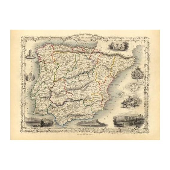 cuadros de mapas, grabados y acuarelas - Cuadro -España y Portugal (1851)-